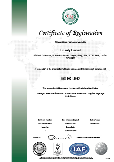 Exterity ISO 9001 2015 Certificate Latest